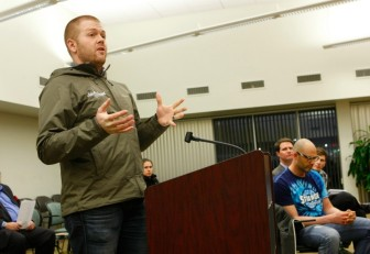 Cory King speaks to the Maplewood council about his Side Project Brewery.