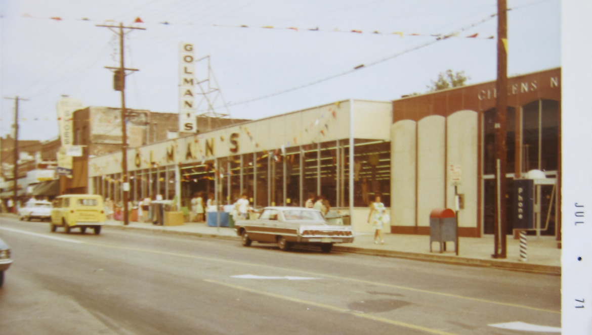 This photo from 1971 shows a Golman's store on the site. Courtesy of Wanda Kennedy Kuntz