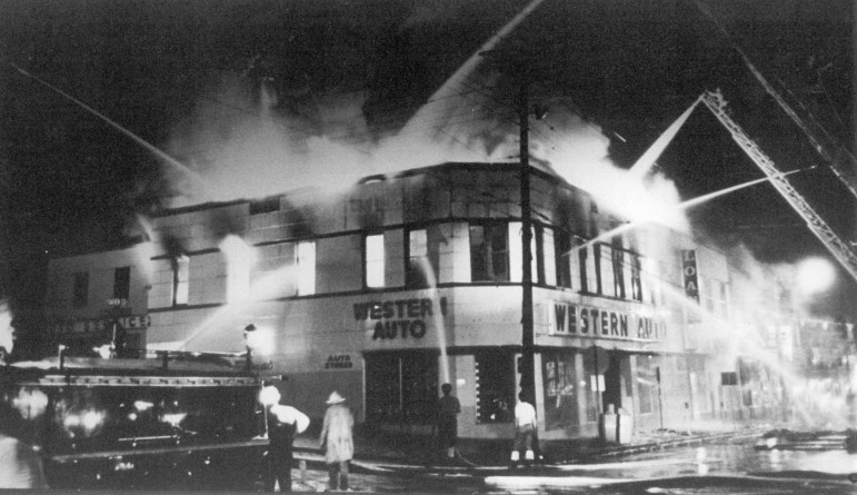 All's well that ends well but the end didn't go very well for the fine old building that once housed the Bank of Maplewood.  I assume that this undated fire photo shows the building in its last days.