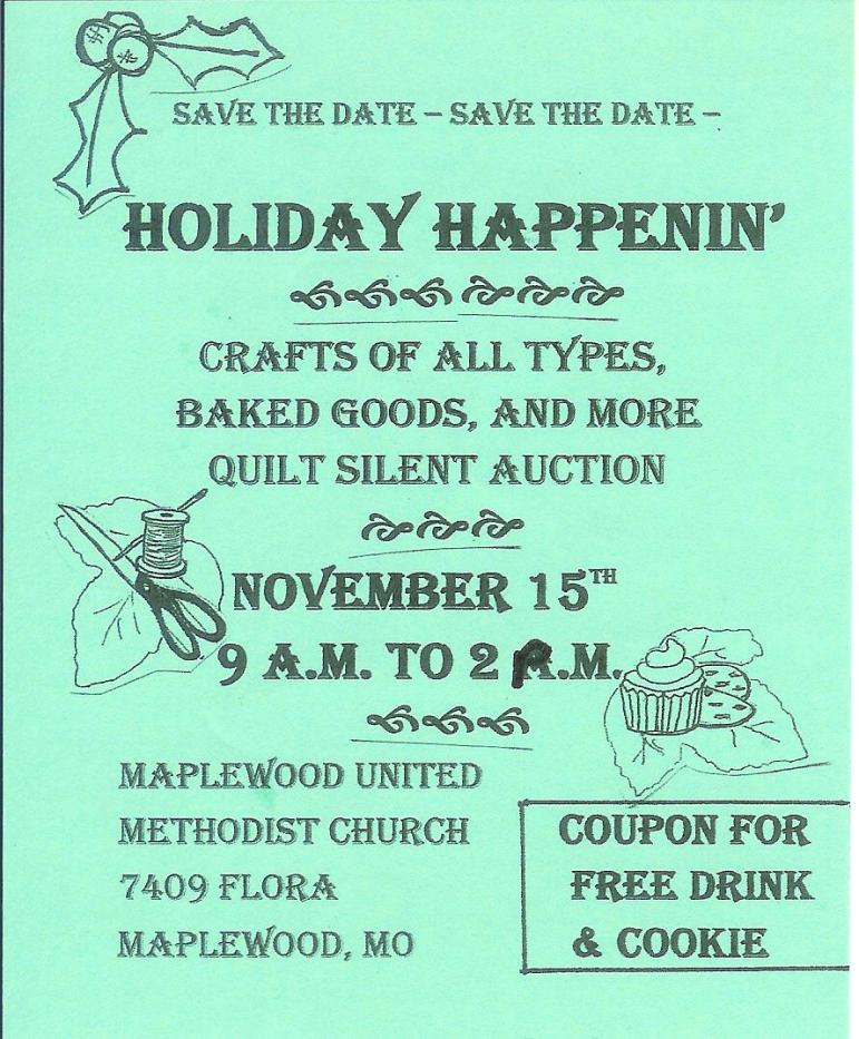Craft Fair Maplewood UMC November 15th 9am to 2pm