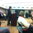 Hazel Avenue resident, John Niehaus speaks to the Maplewood council Tuesday night.