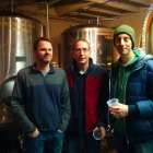 "Jamie Jeschke, John ""Gio"" Sparks and Greg Lowe, of La Cosecha coffee, at Six Row Brewing"