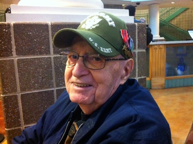 WWII veteran Charlie Stefanoni wears his Army cap on Veterans Day.