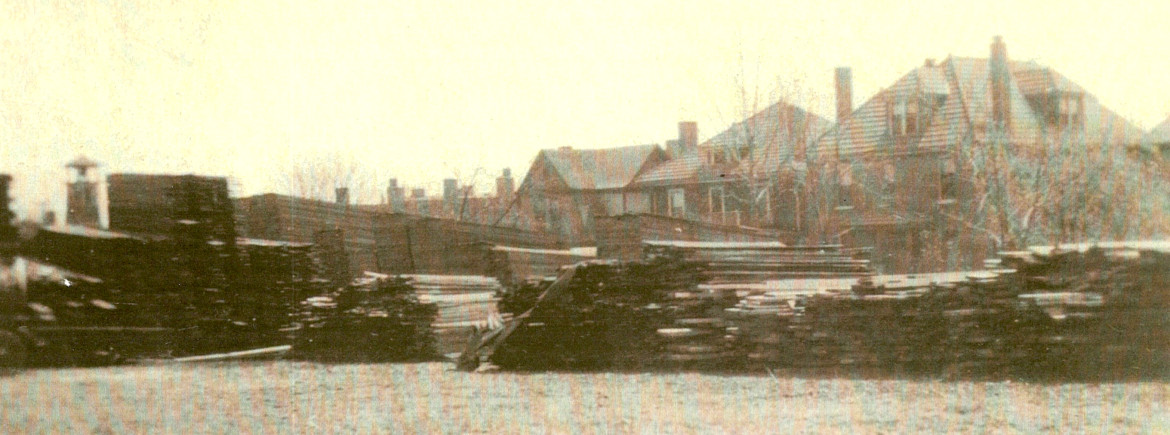 Another view of the lumberyard.  The backs of the homes in the 7400 block of Hazel are visible.