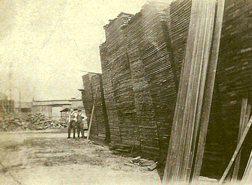The lumber yard of the Maplewood Mill.  No wonder those mules get cranky.