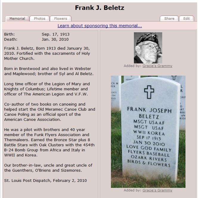 I only spoke with Frank once that I can recall.  As his obituary makes clear, it is my loss.