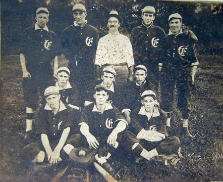 Sherman also asks where did the name Edgebrook come from?  this photo is the only evidence I've seen yet that htere once was a community by the bridge called Edgebrook.  That's an E on these fellows uniforms as the back of the photo clearly shows.  thanks again to Linda Kociacki for this image.  (I spelled her name differently this time.  I've got a 50/50 chance of getting it right.  Maybe.)