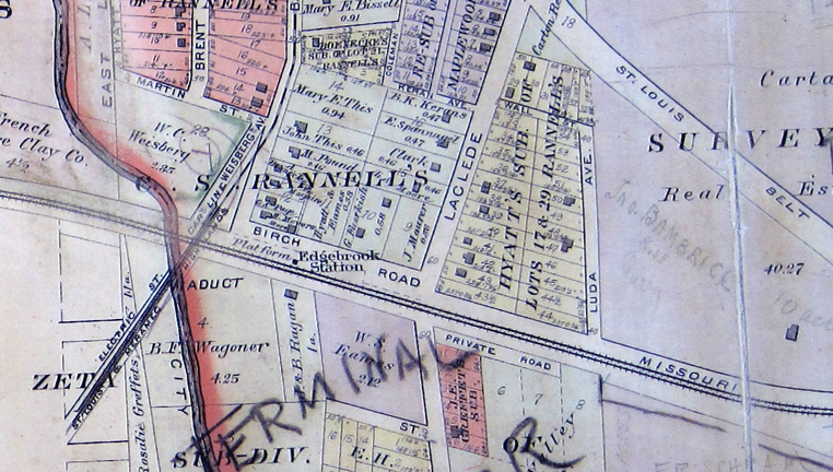 A section of map from the oh so useful 1909 St. Louis County Plat book. The location of the building belonging to the big Bend Quarry can be seen at the lower right. With the exception of a small section of Bartold and Pacific nearly all of the streets and buildings shown no longer exist.