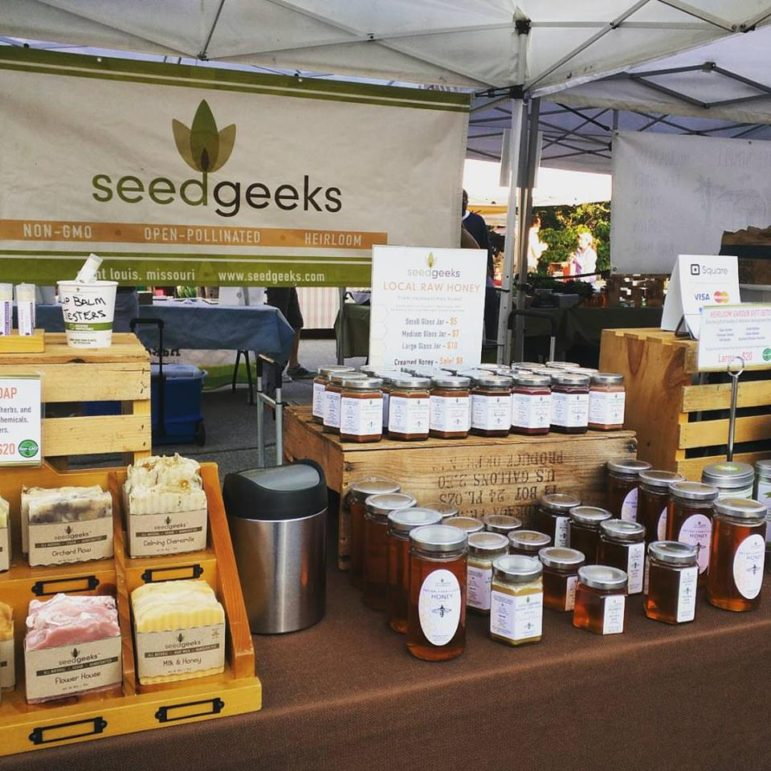 The SeedGeeks display at the Tower Grove farmers market.