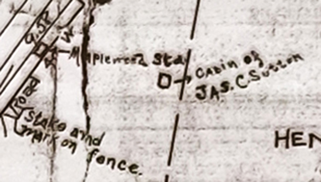 In case you were wondering how I know the location of James' cabin. This is from an 1881 map that was copied on Dec. 25, 1925 by Jas. Sutton Harrison. He must have been a grandson of James who died in 1877. Harrison was the married name of James' daughter, Sarah. Interesting parts of her mansion still exist within the J.B.Smith Funeral Parlor building.