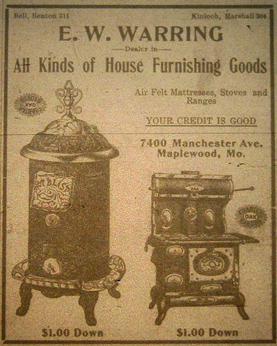 this ad from the 1915 Maplewood champion newspaer suggests that the store was once on the corner in the same building as the Tiffany Diner is now.